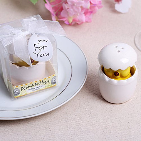 """About to Hatch"" Ceramic Baby Chick Salt & Pepper Shaker - Baby Shower & Wedding Favors, Set of 24"