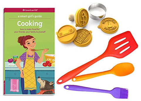 10-Piece Cooking Kit for Girls - Includes A Smart Girls Guide: Cooking (Book), 3 Silicone Kitchen Utensils & 1 Cookie Stamp Set for Baking - A Perfect Unique Gift Idea for Pre- Teen Girls, Age 8-12