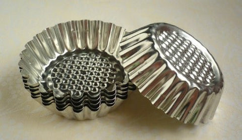 (8 Pack) Fluted Design Round Shape Tart Mold / Tartlet Pan / Mini Pie Tin