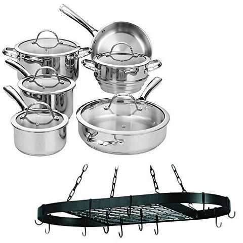 11-Piece Classic Stainless-Steel Tri-Ply Encapsulated Bottom Tempered Glass Lid Cookware Set With 12-Hook Matte Black Oval Hanging Sturdy Steel Construction Pot Rack