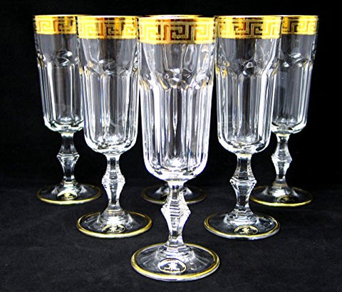 """Cristalleria Fratelli Fumo"" Crystal Champagne Flute Glasses, 8 Oz. 24K Gold Rimmed Greek Key Ornament, Hand Made in Italy, SET OF 6"