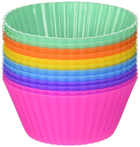 ??ber Baked Reusable Silicone Baking Cups - Set of 12 Nonstick Cupcake Liners in 6 Vibrant Colors