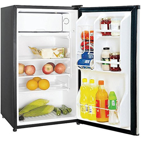 1 - 3.5CBFT REFRIGTR STNLS, 3.5 Cubic-ft Refrigerator (Stainless Look), 3.5 cu ft capacity , In-door storage shelves, Can dispenser , Adjustable thermostat control , Adjustable glass shelves ...
