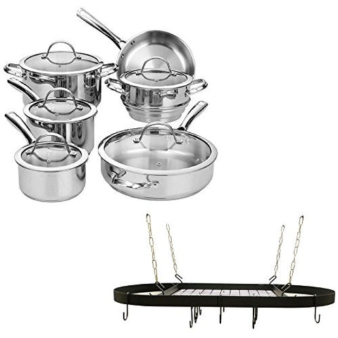 11-Piece Classic Stainless-Steel Tri-Ply Encapsulated Bottom Lid Tempered Glass Cookware Set And Oval Enamel-Coated Metal Pot Rack