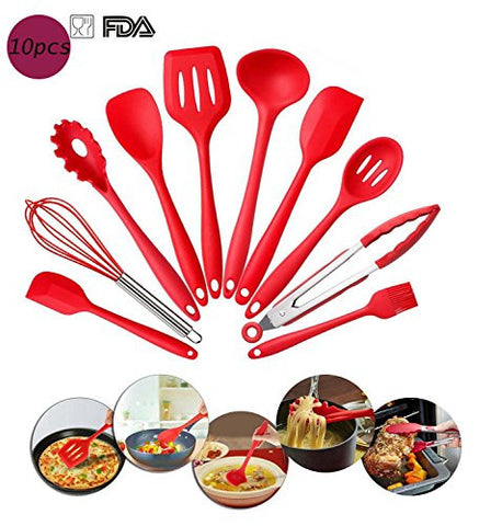 10-Piece Cooking Utensils Silicone Kitchen Utensil Baking Cooking Tool Set for Kitchen BBQ (Red)