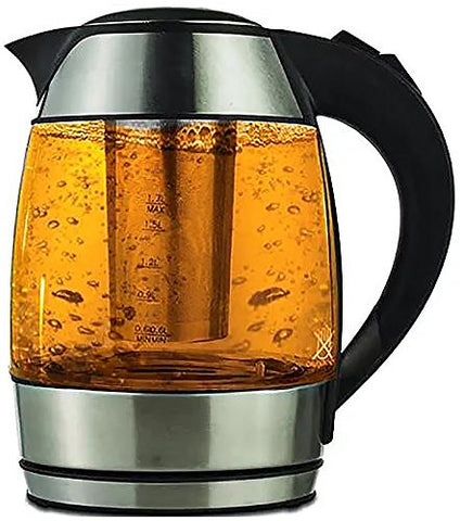1.8-liter Electric Cordless Tempered Glass Tea Kettle with Infuser - Make Perfect Tea in one Step