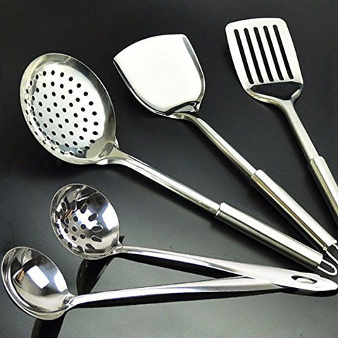 """Stainless Steel 5pcs Cooking Set Spoon Colander Shovel Kitchen Tools"" shopping"