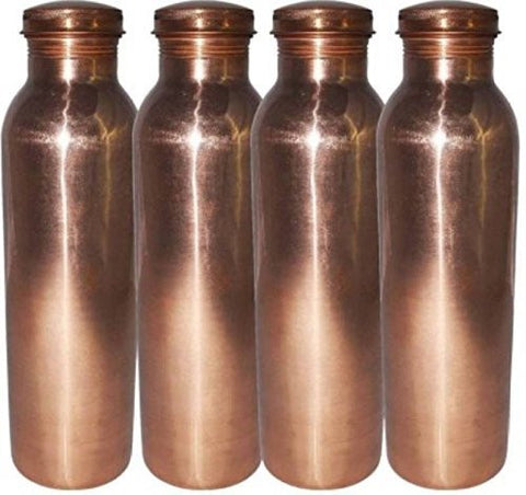 """ JAI GURU JI"" Pure Copper Joint Less Water Thermos /BOTTLE/Flask, Best Quality for Ayurvedic Health Benefits 1000 ml /CHRISTMAS GIFT IDEA (SET OF 5)"