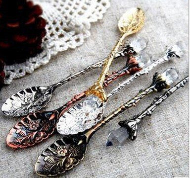 5pcs/lot Royal Luxury Vintage Palace Carved Coffee Tea Mini Ice Cream Scoop Spoon