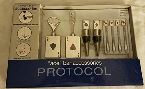 """Ace"" Set of 8 Bar accessories by Protocol Card Theme"