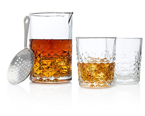 """Gentleman's Companion"" Cocktail Beaker & Whiskey Glass Gift Set"