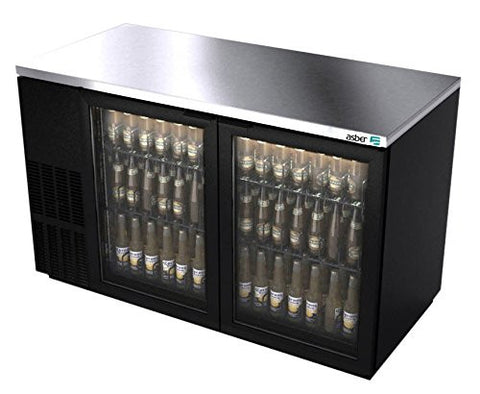 "Back Bar Cooler, 59-1/2"", two-section, (2) glass doors, (852) 12 oz can capacity, (4) adjustable coated wire shelves, analog thermostat, Asber ABBC-58G"