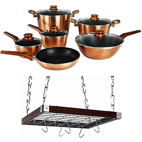11-Piece Aluminum Bronze And Copper Colored Nonstick Cookware Set With Square Espresso Wood Made Of Solid Asian Hardwood Ceiling Rack