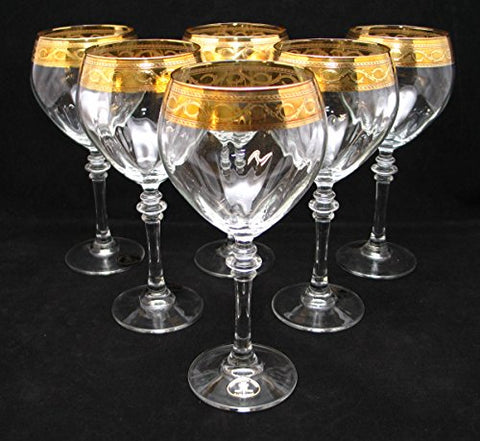 """Cristalleria Fratelli Fumo"" Stemmed Crystal Water Wine Beverage Glasses, 12 Oz. 24 Karat Gold Rimmed Trim, Hand Made in Italy, SET OF 6"