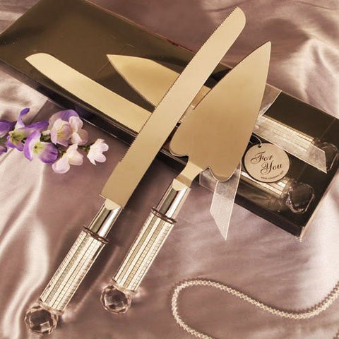 """Dazzling Diamond"" Heart Shaped Cake Server and Cake Knife Set Silver - Set of 12"