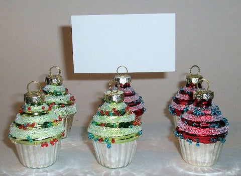 """ABC Products"" -(New Lower Price) - Offer of Two Sets - 6 in a Set - Cupcake Dinner Table - Place Card Holder - Very Colorful Primitive Design (3 - Green and 3 Red in a Set)"