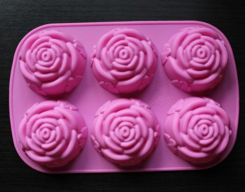 1 X U-beauty Rose Slicone 6 Capacity Cake Pan Baking Mold