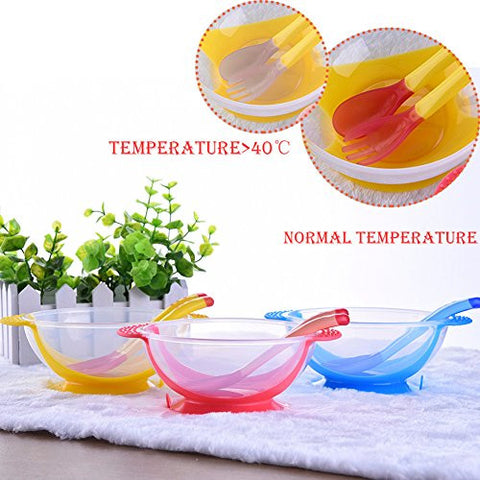 3pcs/set, Safety Baby Feeding Dishes Bright Color Babies Bowl with Suction Cup Assist Temperature Sensing Spoon