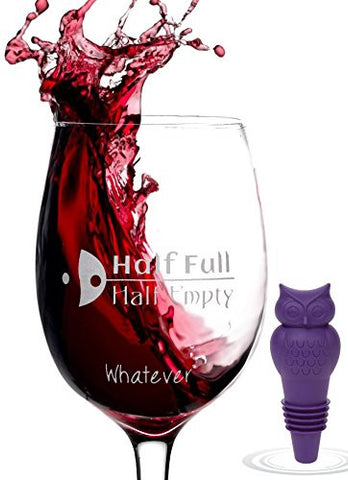 """Glass Half Full"" Novelty Wine Glass in Elegant Gift Box with Bonus Bottle Stopper 