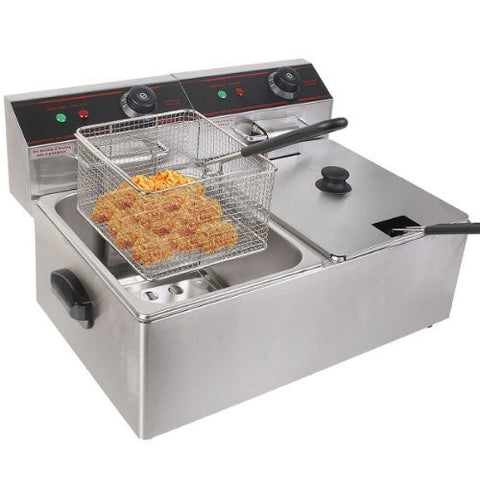 5000w Electric Countertop Deep Fryer Dual Tank Commercial Restaurant Steel