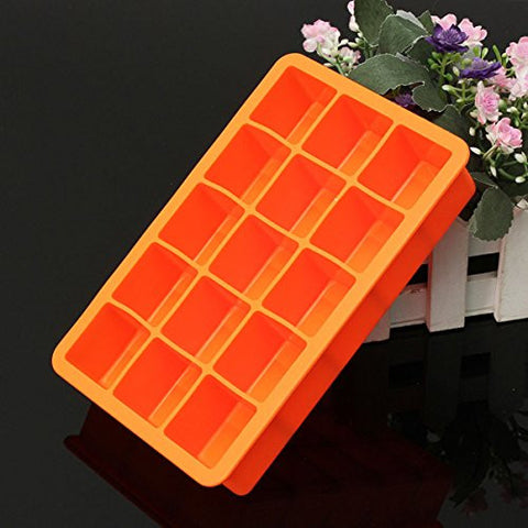 """Silicone 15 Square Cube Ice Tray Mold Pudding Jelly Mould Party Bar (Orange)"" shopping"