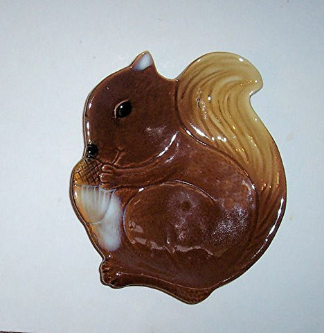 """ABC Products"" - Primitive Style Ceramic - Squirrel Shaped All-Purpose Dish - Use For Candy Dish, Spoon Rest, Snack Dish, Mixed Nuts and More - Hand Painted"