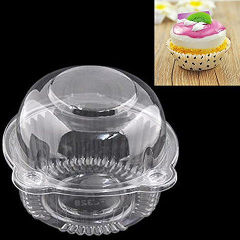 100 Clear Plastic Cupcake Containers plus 100 Grease-Proof White w/ Black Polka-Dot Cupcake Liners