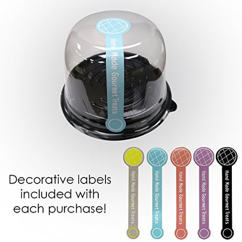 100 Clear Dome Lid Cupcake Muffin BPA-Free Containers Black Base Bake Sale Box + Complementary Stickers