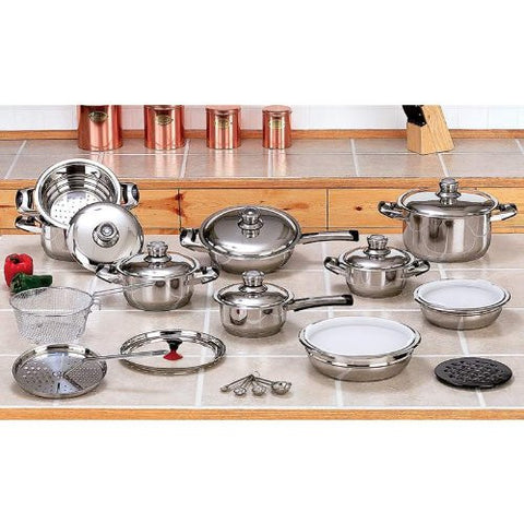 12 Element 28pc T304 Stainless Steel Waterless Cookware Set Pots & Pans
