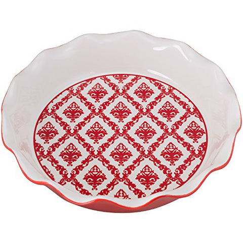 10 Strawberry Street PIE-DAMASK-RED Damask Pie Dish, Red