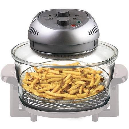1,300W, 16-qt Capacity, Halogen, Convection And Infrared Heat, Energy Efficient, Oil-Less Fryer, Gray/White