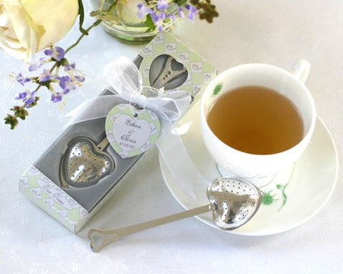 """Tea Time"" Heart Tea Infuser in Tea-Time Gift Box - Baby Shower Gifts & Wedding Favors (Set of 12)"