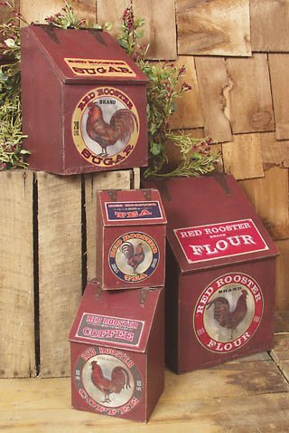 """Red Rooster"" Wood Kitchen Canister Set"