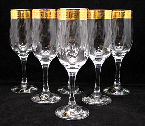 """Cristalleria Fratelli Fumo"" Crystal Champagne Flutes, 8 Oz. 24 Karat Gold Rimmed Greek Key Accent, Hand Made in Italy, SET OF 6"