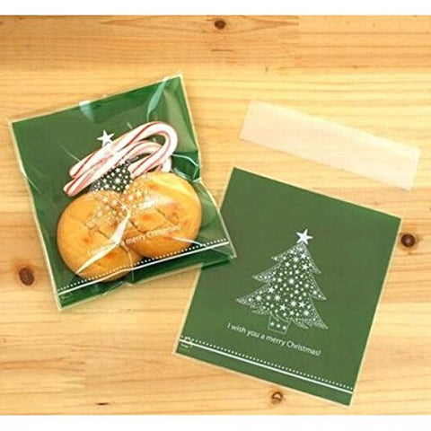 """10pcs Christmas Tree Clear Cellophane Cookie Wedding Candy Party Bags"" shopping"