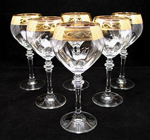 """Cristalleria Fratelli Fumo"" Stemmed Crystal Water Wine Beverage Glasses, 10 Oz. 24 Karat Gold Rimmed Accent, Hand Made in Italy, SET OF 6"