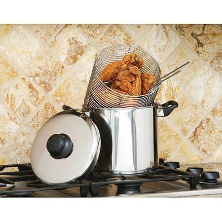 6-Quart 18/10 Stainless Steel Stovetop Deep Fryer/Stock Pot, Multicolor
