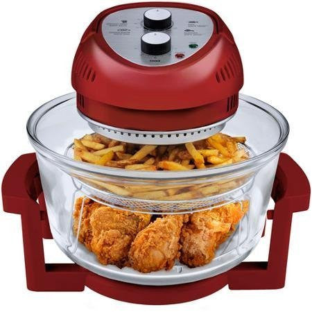 1300 Watts, Energy Efficient, 6-Quart Oil-Less Fryer, Red