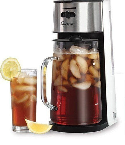 Capresso Stainless Steel Iced Tea Maker Glass Pitcher One Button Operation