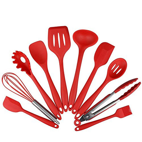 10PC Kitchen Tool Set Silicone Kitchen Cooking Categories Include: High Temperature Baking Spoonula, Brush, Whisk, Large and Small Shovel, Ladle, Turner and Slotted Spoon, Tongs, Pasta Red Fork