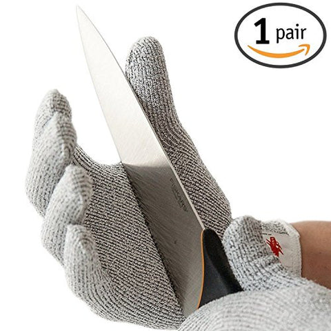 1 Pair LARGE NoCry Cut Resistant Gloves High Performance Level 5 Protection Food Grade