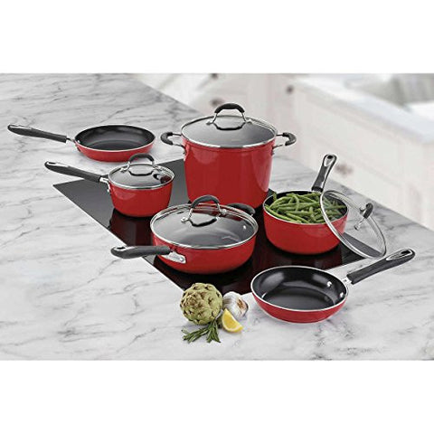 10-piece Red Cuisinart Greenchef Induction Ready Ceramic Non-stick Cookware Set
