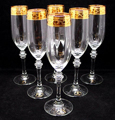 """Cristalleria Fratelli Fumo"" Crystal Champagne Glasses Flutes, 8 Oz. 24 Karat Gold Rimmed Accent, Hand Made in Italy, SET OF 6"