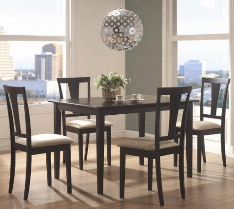 Coaster Geary 150181N 5 PC Dining Set With 4 Side Chairs Rectangular Table Beige Microfiber Upholstered