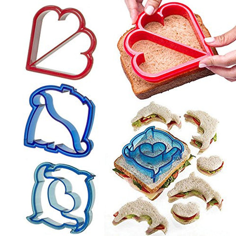 3pk sandwich crust cutter to remove food form the mold maker for kids toast dinner set