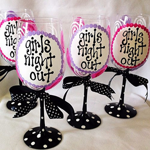 """Girls Night Out"" Wine Glasses--Set of 5"