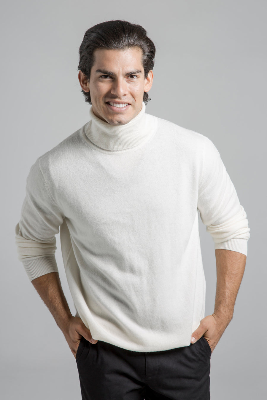 pine cashmere mens classic 100% pure organic cashmere turtleneck sweater in white