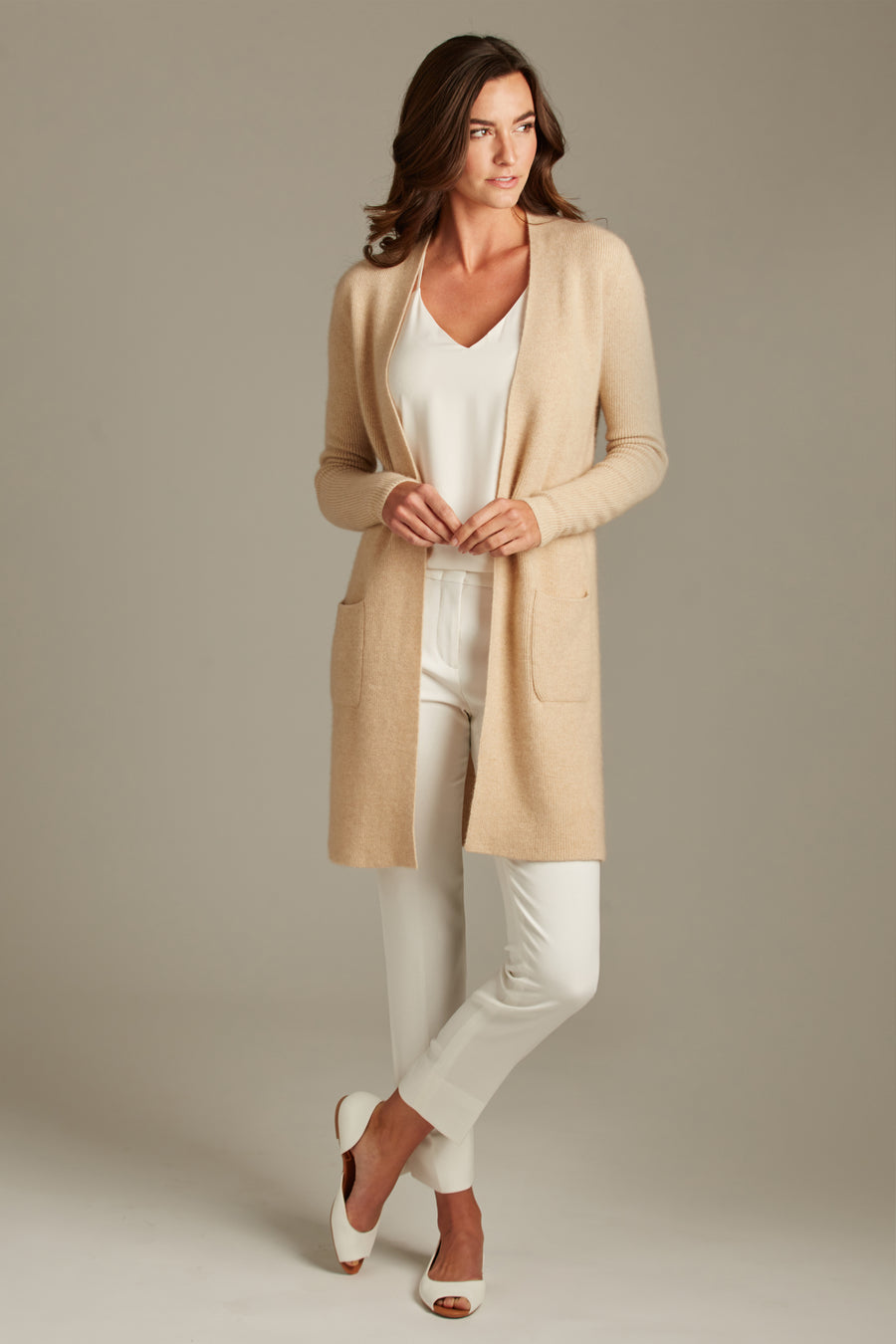 pine cashmere morgan women's 100% pure organic cashmere cardigan sweater in tan beige