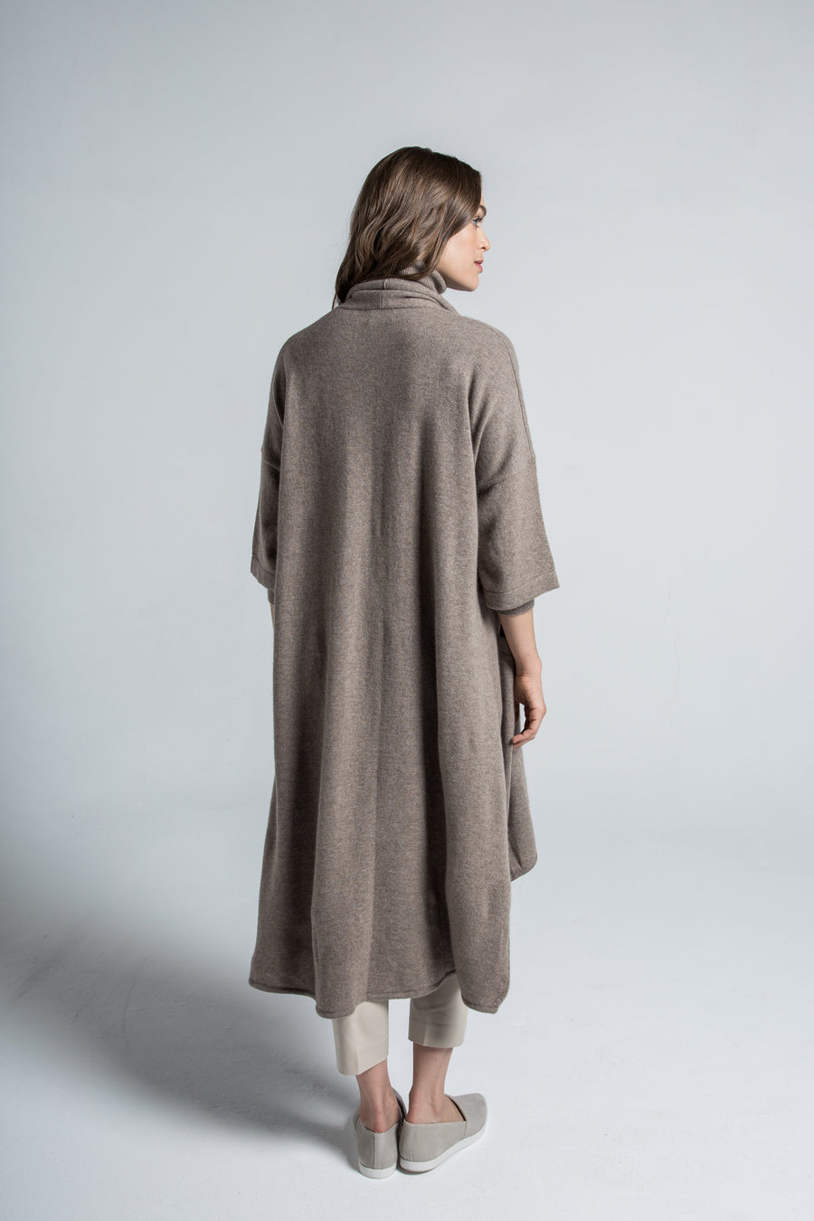 pine cashmere celine women's loose fit 100% pure organic cashmere cardigan coat in brown