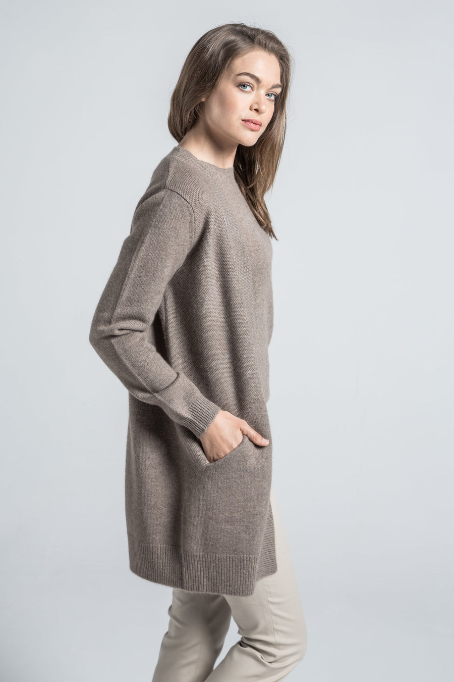 pine cashmere adeline women's 100% pure cashmere cardigan sweater in brown
